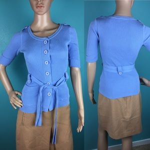 Moda International Blue Belted Button Down Sweater